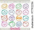 set of hand drawn smiles on realistic paper page - stock vector