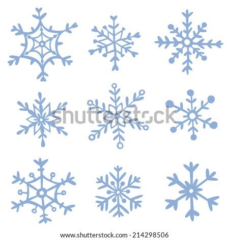 Set of hand drawn snowflakes. EPS 10. No transparency. No gradients. - stock vector