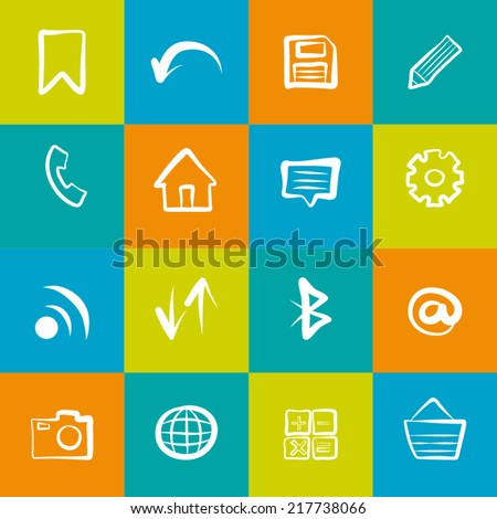 Set of hand drawn social icons.Colorful symbols in sketched style.Doodle line elements.Vector illustration.
