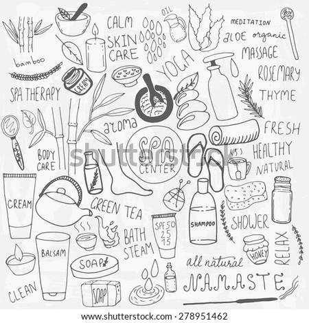 Set of hand drawn spa doodle. Unique elements. - stock vector