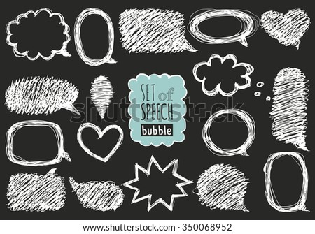Set of hand drawn speech and thought bubbles. Doodle design with short messages. - stock vector