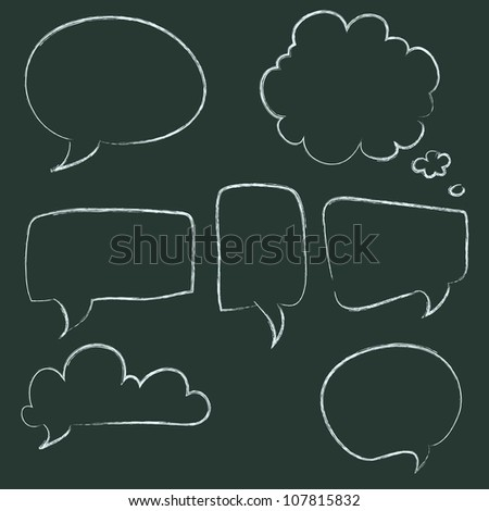 Set of hand-drawn speech and thought bubbles on chalkboard background. Vector illustration. - stock vector