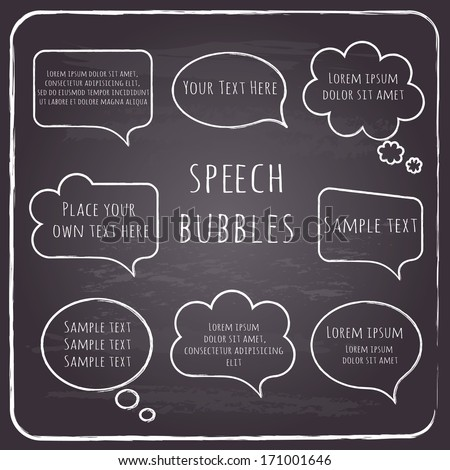 Set of hand-drawn speech and thought bubbles with sample text  on chalkboard background. Vector illustration.  - stock vector