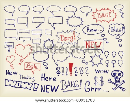 Set of hand drawn speech bubbles and signs - stock vector