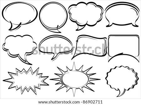Set of hand-drawn speech bubbles comic book style - stock vector