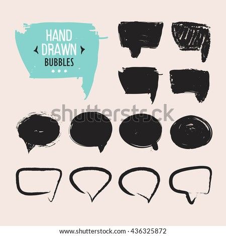 Set of hand drawn speech bubbles. Vector design elements. - stock vector