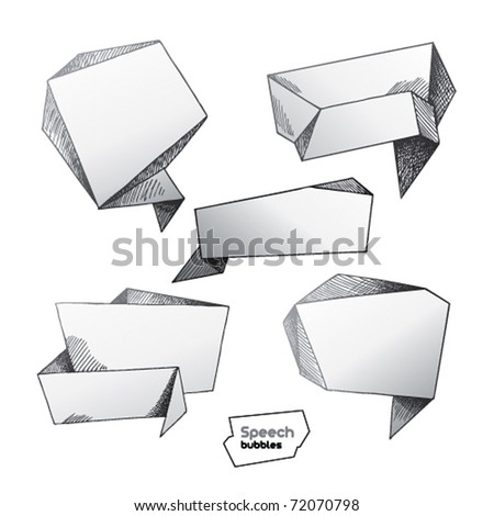 Set of hand drawn speech bubbles. Vector illustration. - stock vector