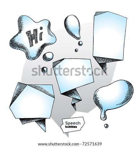 Set of hand drawn speech bubbles. Vector illustration. - stock vector