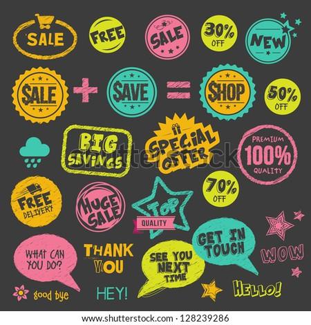 Set of hand drawn style badges and stickers on blackboard - stock vector