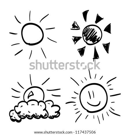 Set of Hand-drawn sun - stock vector