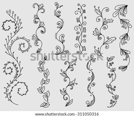 Set of hand drawn swirly vines - stock vector