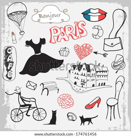 set of hand drawn symbols of Paris - stock vector