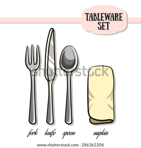 Set of hand drawn tableware and napkin. Vector illustration. 10 EPS - stock vector