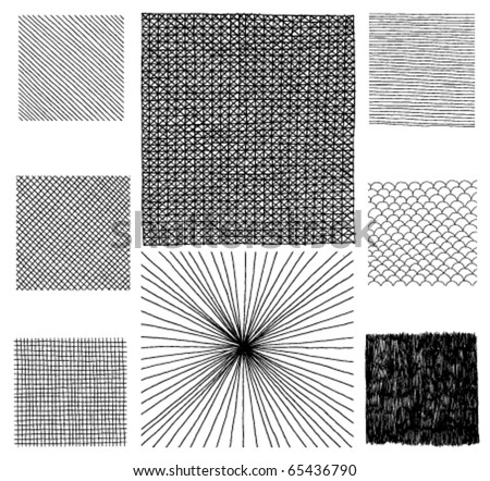 Set of Hand Drawn Textures - stock vector