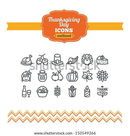 Set of hand drawn Thanksgiving Day icons