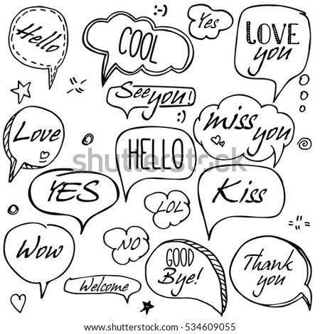 Set Hand Drawn Think Talk Speech Stock Vector 534609055