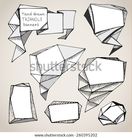 Set of hand drawn triangle speech bubbles. Vector illustration. - stock vector