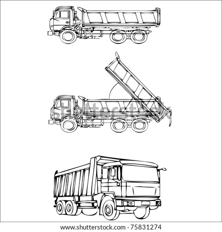 Set of hand drawn truck silhouettes - stock vector