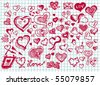 set of hand drawn valentine hearts - stock photo