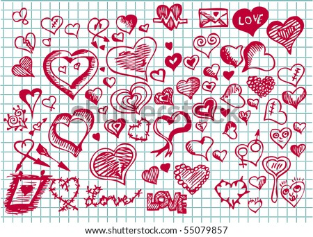 set of hand drawn valentine hearts - stock vector
