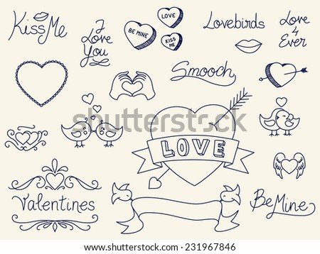 Set of hand drawn Valentine's Day doodles - stock vector