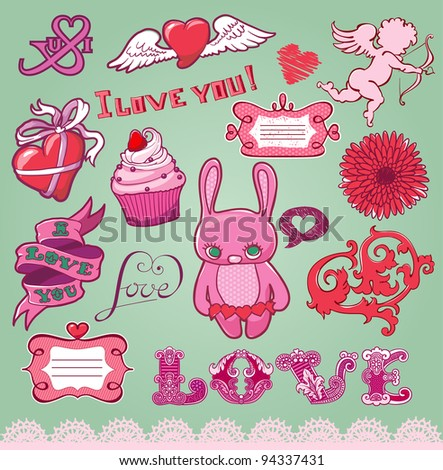 Set of hand-drawn valentine's elements for design - stock vector