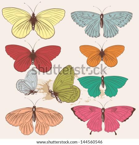 Set of  hand drawn vector butterflies for your design - stock vector