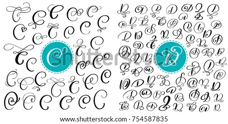 Set Of Hand Drawn Vector Calligraphy Letters C And D Script Font Isolated