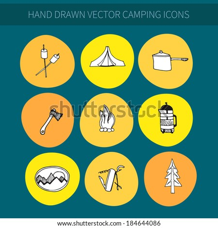 Set of hand drawn vector camping icons