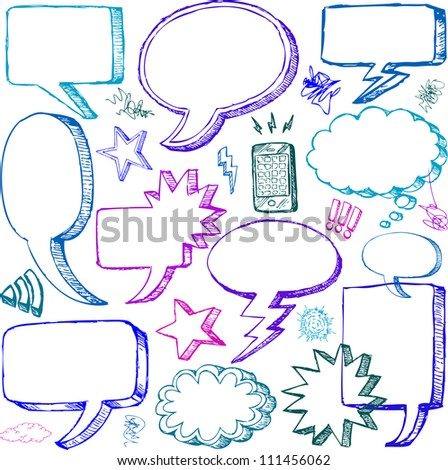 Set of Hand drawn vector Comical Speech Bubbles - stock vector