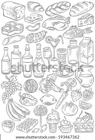 Set of hand drawn vector food and drinks (simple path included) - stock vector