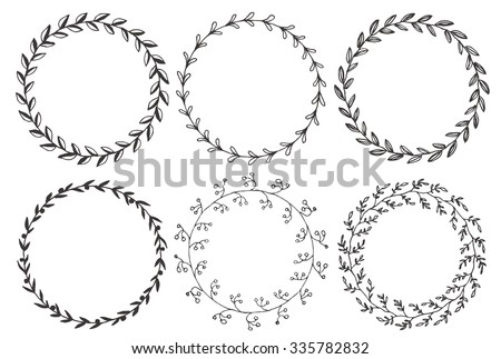 Set of hand drawn vector round floral wreaths.  - stock vector