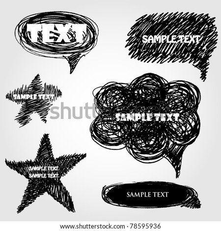 Set of hand drawn vector  speech bubbles - stock vector