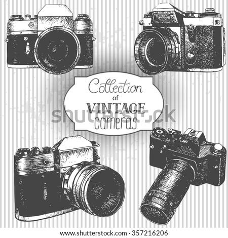 Set of hand drawn vintage cameras - stock vector