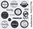 Set of hand-drawn vintage premium quality badges and labels - stock vector