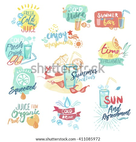 Set of hand drawn watercolor badges and stickers of fresh fruit juice and drinks. Vector illustrations for menu, food and drink, restaurant and cocktail bar, summer refreshment, fruit, summer holiday. - stock vector