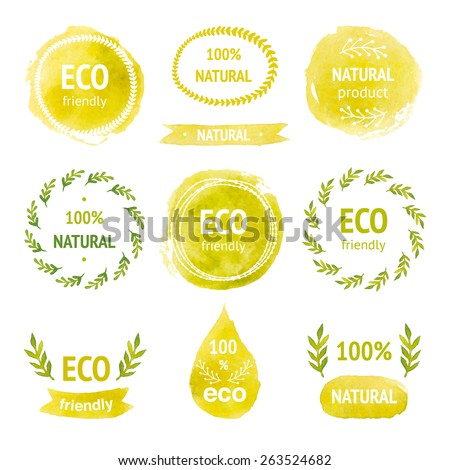 Set of hand drawn watercolor eco labels, floral wreaths, ribbon, tags,frames and borders, drop, template for design. Eco friendly, natural product - stock vector