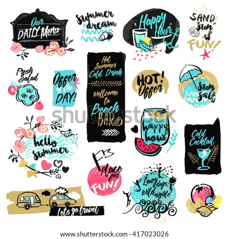 Set of hand drawn watercolor labels and badges of summer. Vector illustrations for summer holiday, travel and vacation, restaurant and bar, menu, sea and sun, beach vacation and party. - stock vector