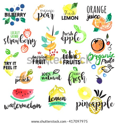 Set of hand drawn watercolor labels and stickers of fruit. Vector illustrations for graphic and web design, for food and drink, restaurant and bar, menu, fruit market, organic fruits.