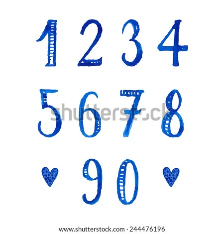 Set of hand drawn watercolor numbers and mathematical symbols. Vector digits for save the dates, invitations and other creative projects. Best with same style alphabet. - stock vector