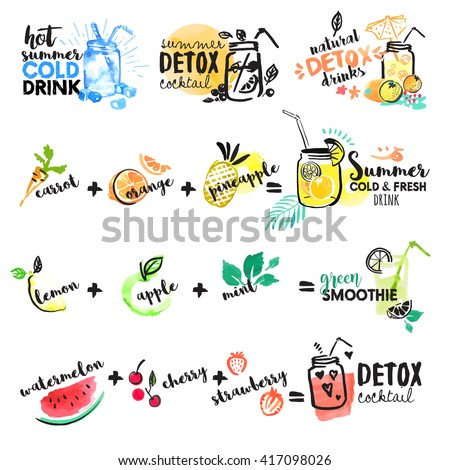 Set of hand drawn watercolor signs of summer drinks, fruit juices and smoothies, cocktails. Vector illustrations for graphic and web design, for restaurant and bar, menu. - stock vector