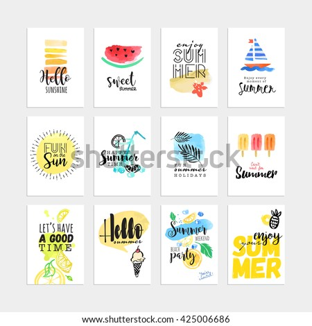 Set of hand drawn watercolor summer cards and banners.  - stock vector