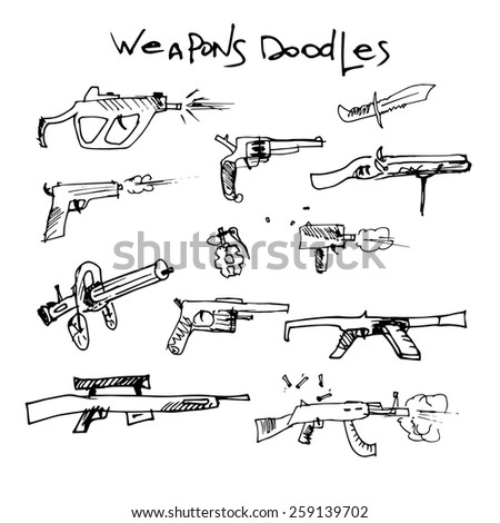 set of hand drawn weapons. vector illustration