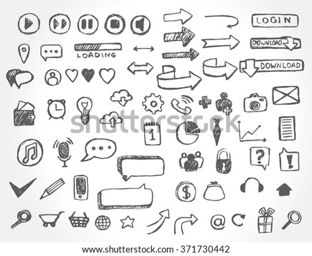 Set of hand drawn web icons and elements