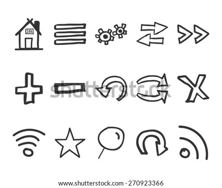 Set of hand drawn web icons and logo, internet browser elements. Sketch, doodle stylish and unusual design. Isolated on white background. vector illustration - stock vector