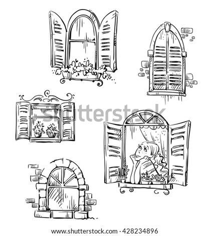 Set of hand drawn windows, vector illustration  - stock vector