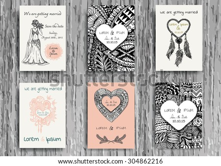 Set of hand drawn zentangle on A4 template for print. Wedding card design template. - stock vector