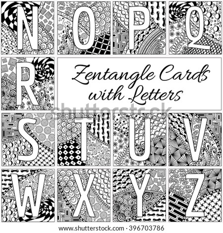 Zentangle Letters Stock Images