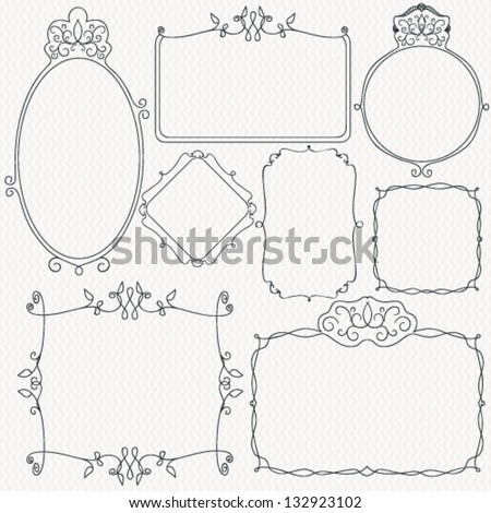 Set of hand drown frames - stock vector