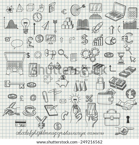 Set of hand drown icons for creating business concepts and illustrating ideas, with font, EPS 8